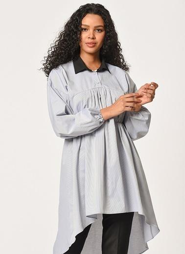Mizalle Önü Büzgülü Tunik Gömlek  Gri